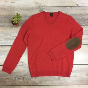 J. Crew Rustic Leather Patch Wool Sweater
